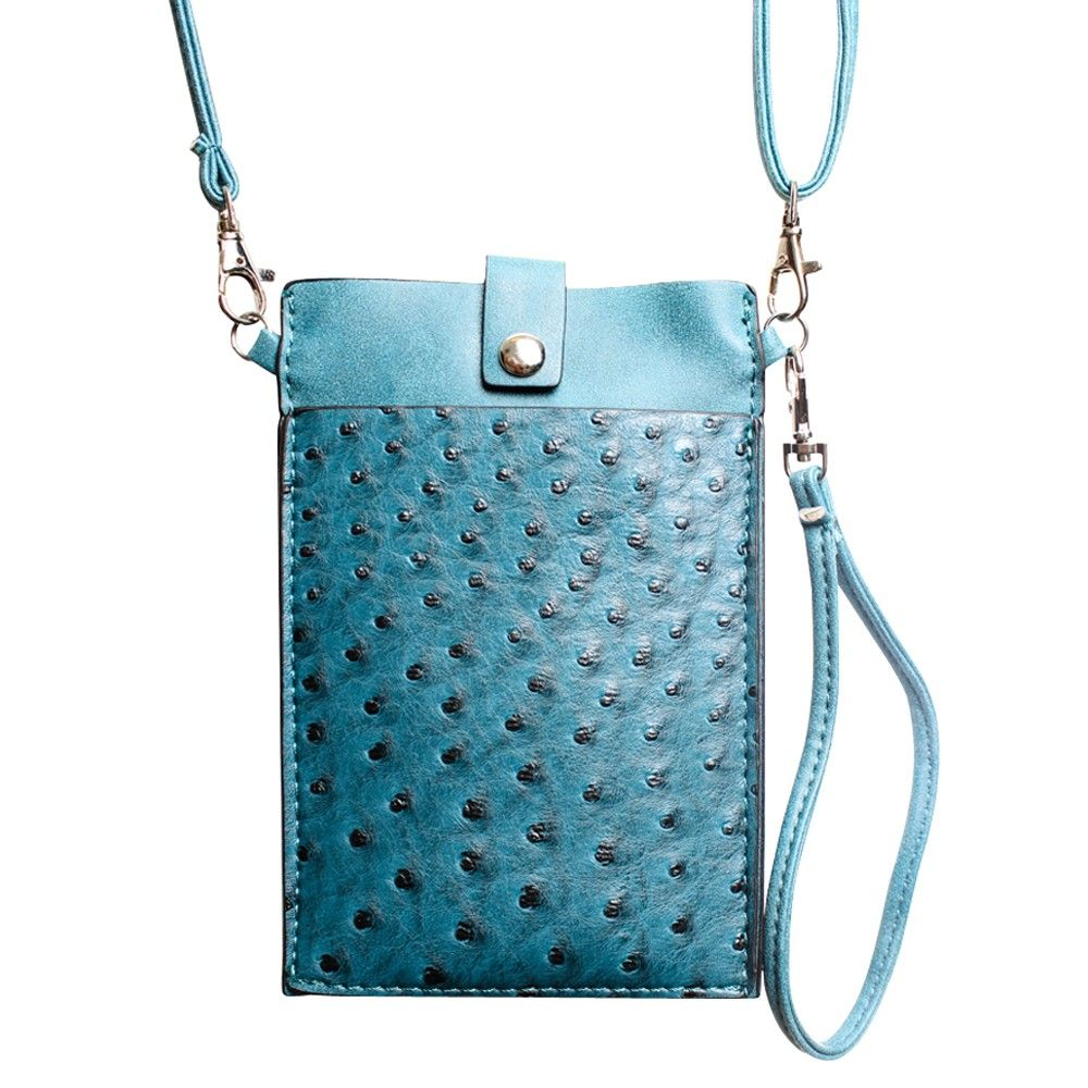 Apple iPhone 6 Plus -  Top Buckle Crossbody bag with shoulder strap and wristlet, Turquoise