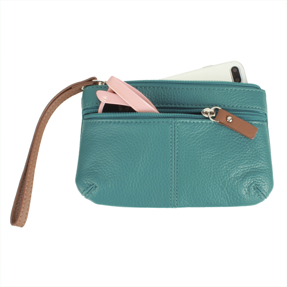 Apple iPhone 6 Plus -  Genuine Leather Hand-Crafted Phone Clutch with Wristlet, Teal
