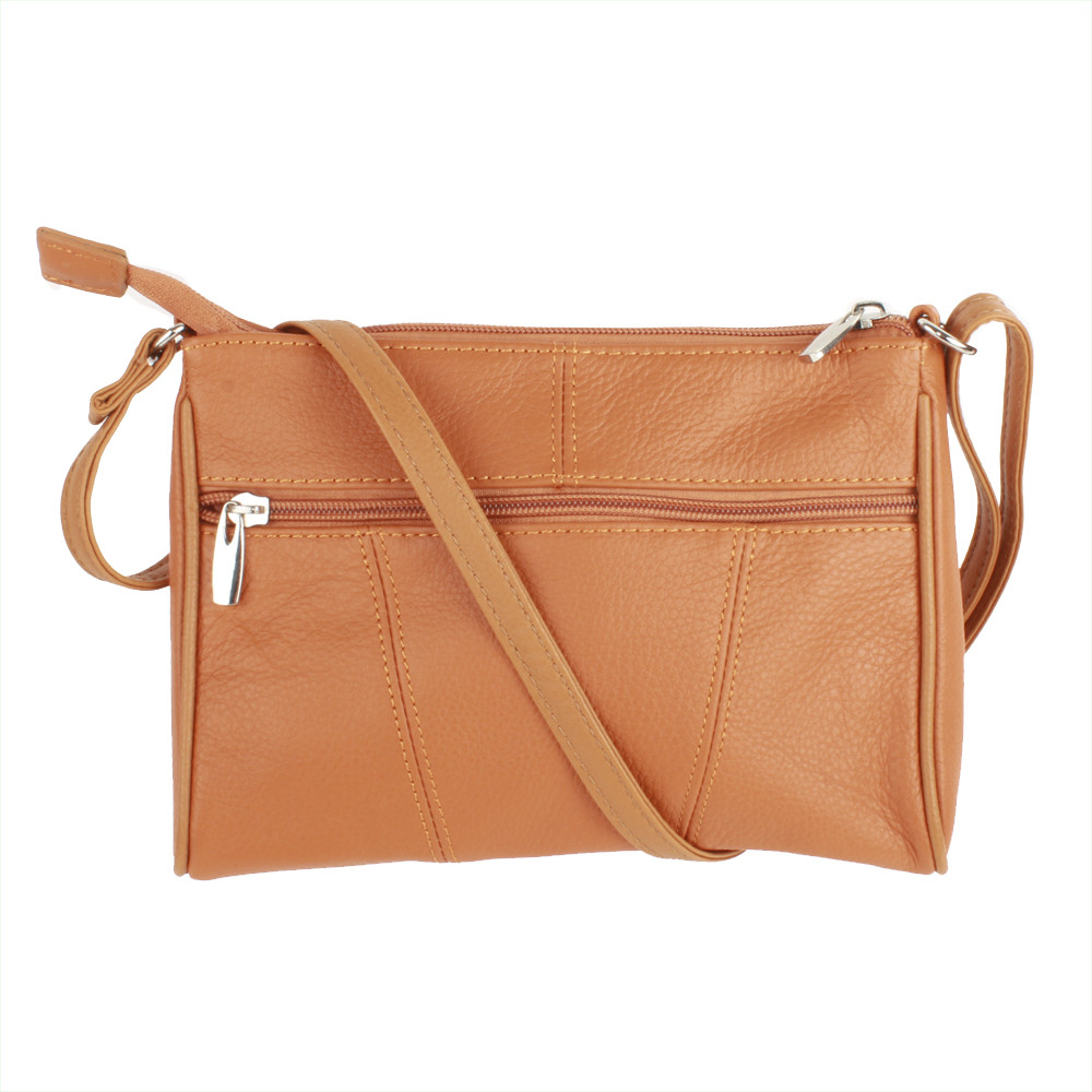 Apple iPhone 6 Plus -  Genuine Leather Hand-Crafted Crossbody Purse, Camel