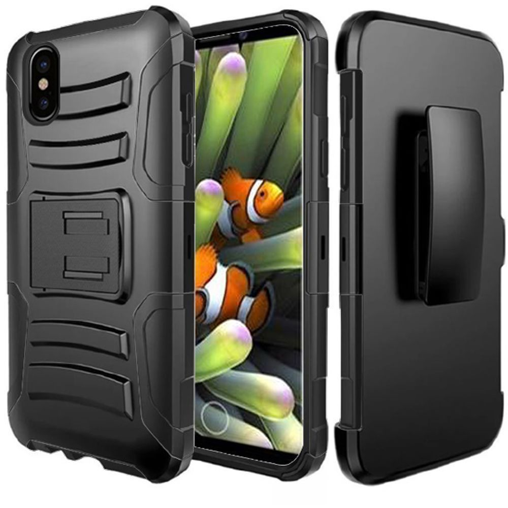 Apple iPhone X -  My.Carbon 3-in-1 Rugged Case with Holster, Black