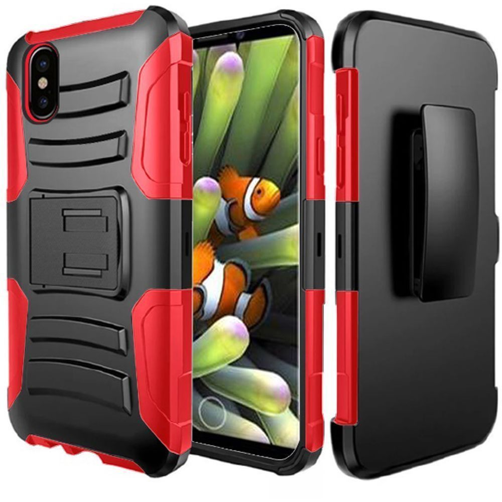 Apple iPhone X -  My.Carbon 3-in-1 Rugged Case with Holster, Black/Red