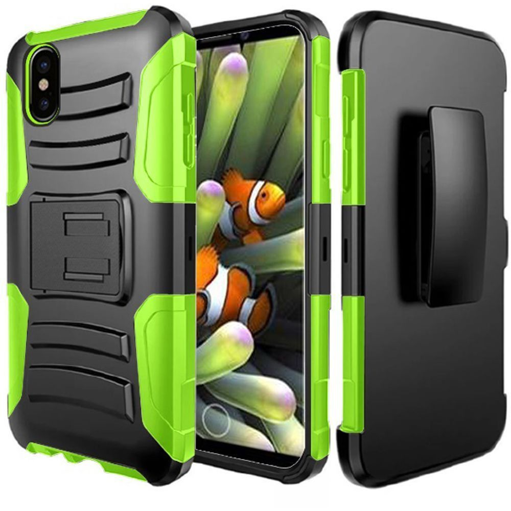 Apple iPhone X -  My.Carbon 3-in-1 Rugged Case with Holster, Neon Green/Green