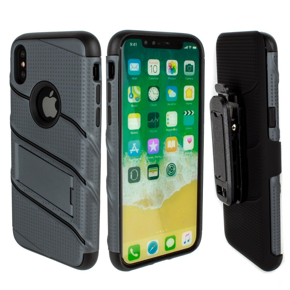 Apple iPhone X - RoBolt Heavy-Duty Rugged Case and Holster Combo, Dark Gray/Black