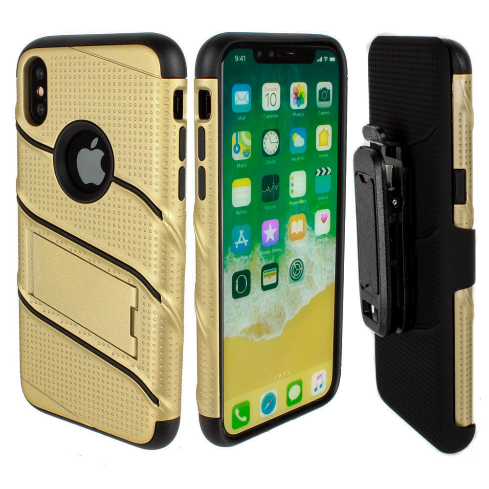 Apple iPhone X - RoBolt Heavy-Duty Rugged Case and Holster Combo, Gold/Black