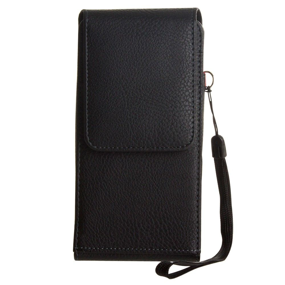 Apple iPhone X -  Premium Leather Vertical Pouch with card slots and rotating belt clip, Black