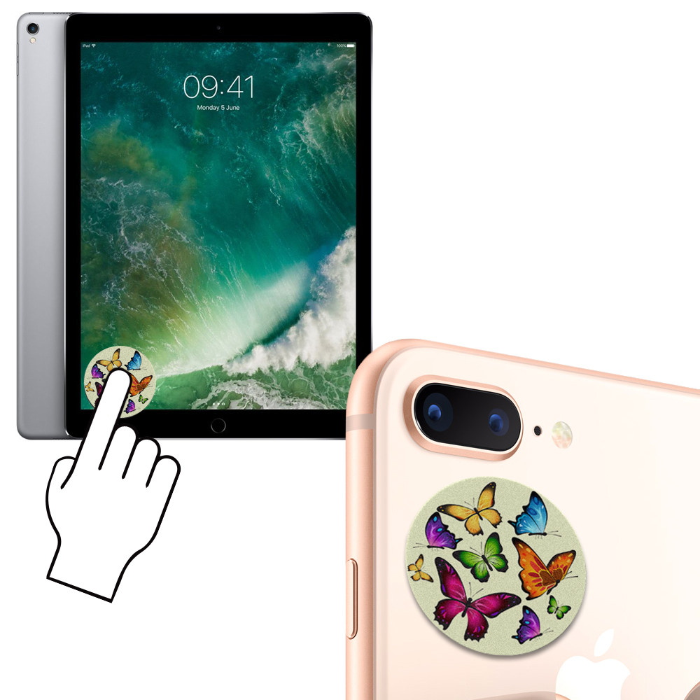 Apple iPhone X -  Rainbow Butterflies Design Re-usable Stick-on Screen Cleaner, Multi-Color