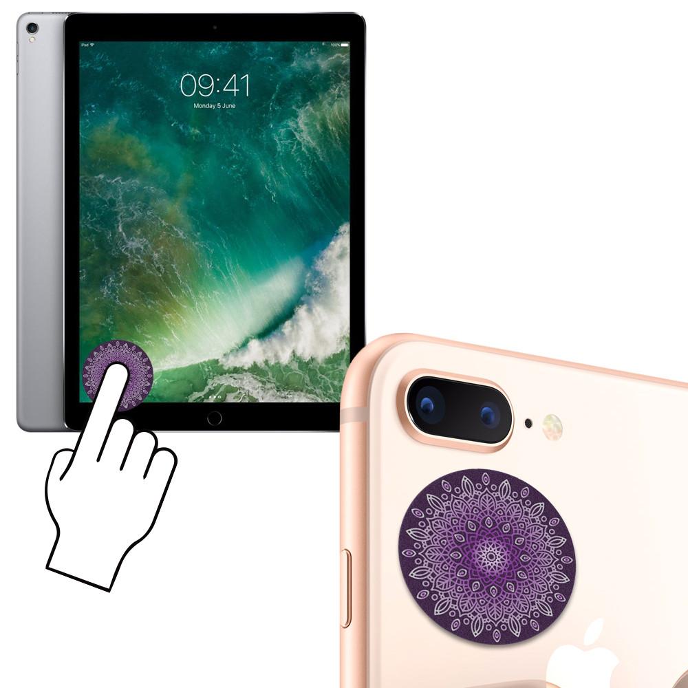 Apple iPhone X -  Mandala Design Re-usable Stick-on Screen Cleaner, Purple