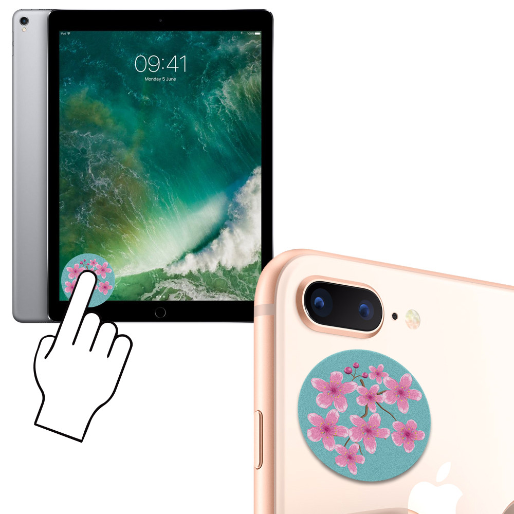 Apple iPhone X -  Cherry Blossom Design Re-usable Stick-on Screen Cleaner, Pink/Green
