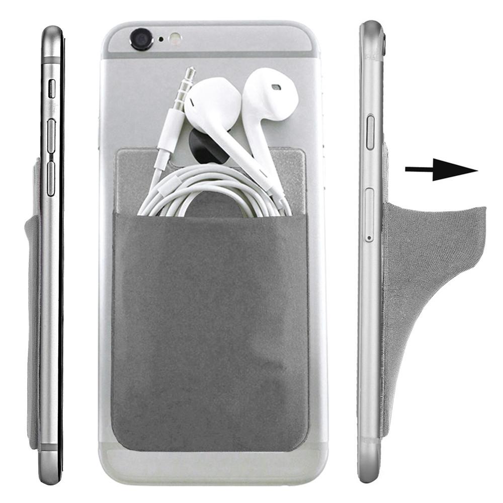 Apple iPhone X -  Lycra Spandex Stick-on Card Pocket, Gray