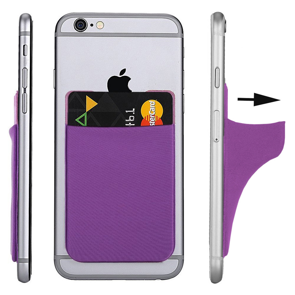 Apple iPhone X -  Lycra Spandex Stick-on Card Pocket, Purple