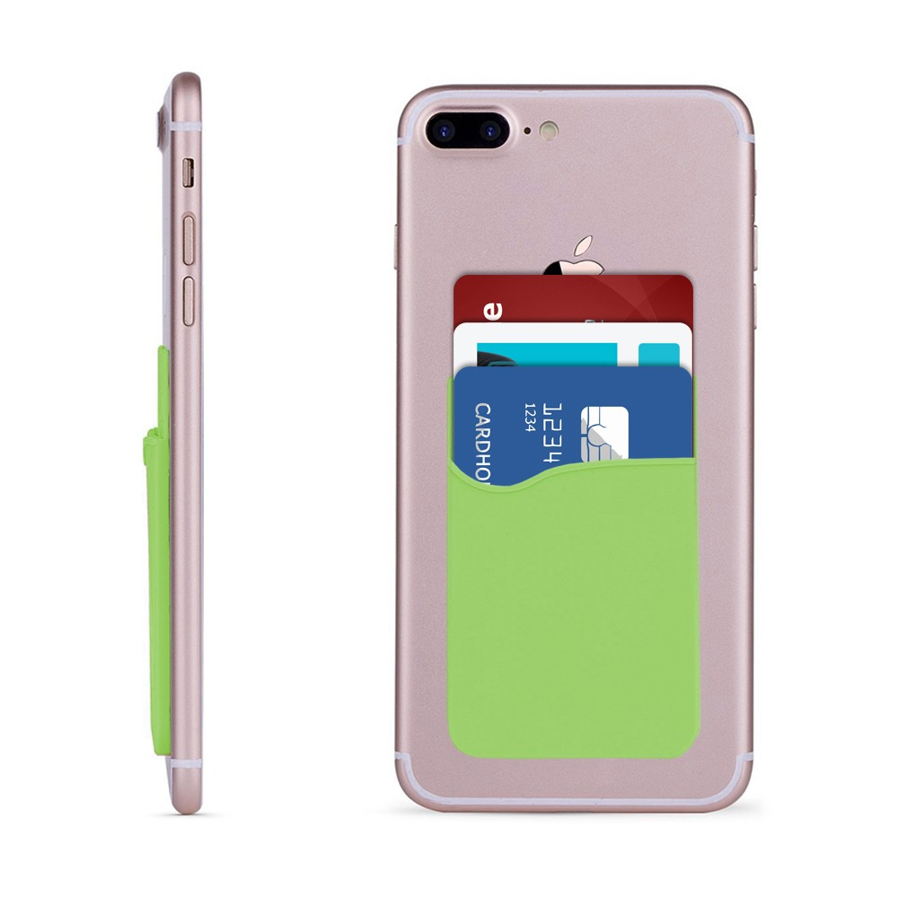 Apple iPhone X -  Rubber Silicone Stick-on Card Pocket, Green