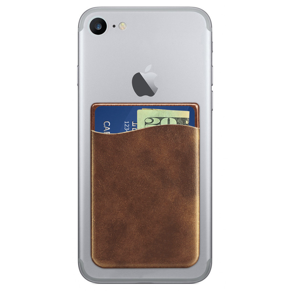 Apple iPhone X -  Vegan Leather Stick-on Card Pocket, Brown