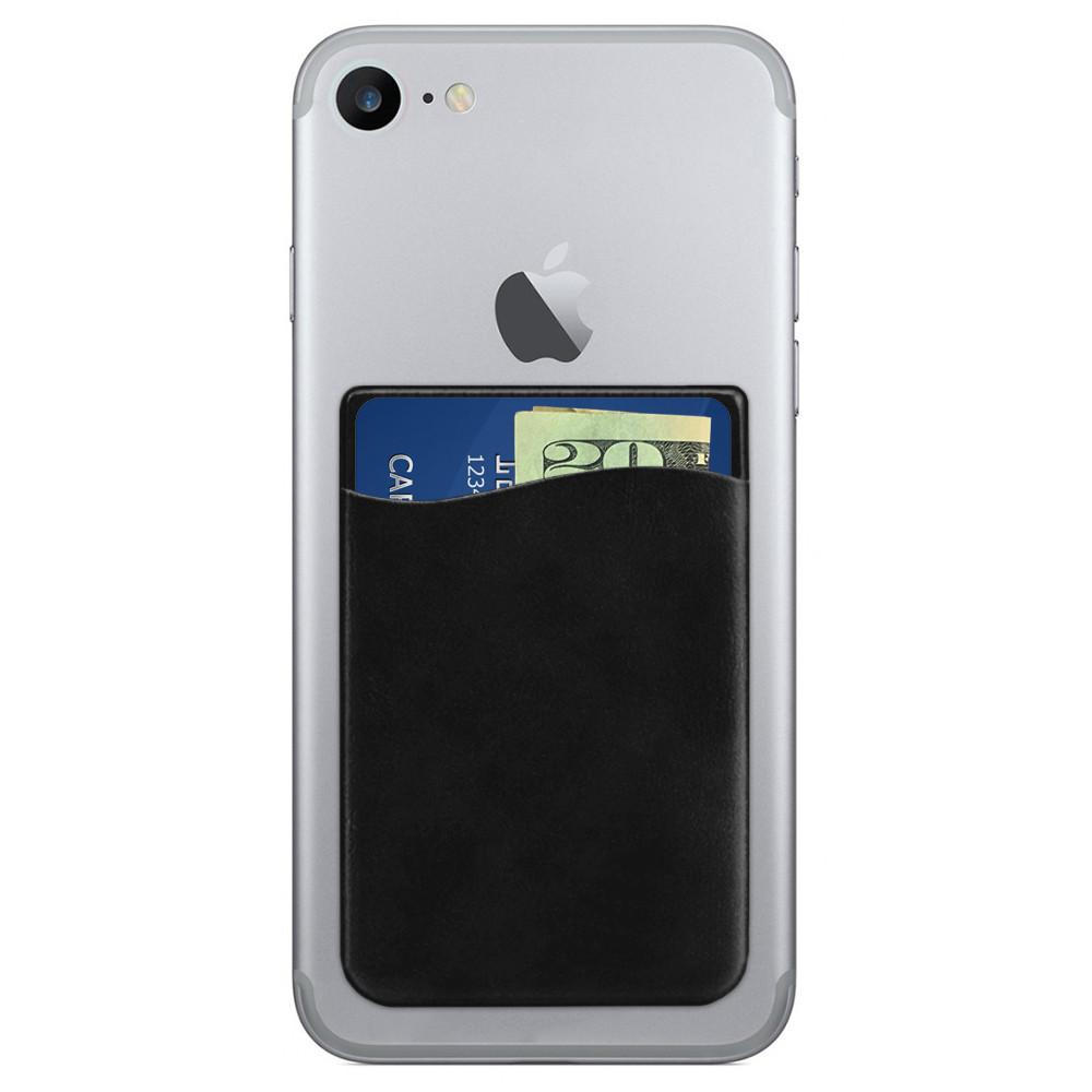Apple iPhone X -  Vegan Leather Stick-on Card Pocket, Black
