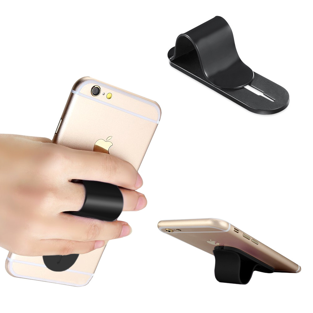 Apple iPhone X -  Stick-on Retractable Finger Phone Grip Holder, Black
