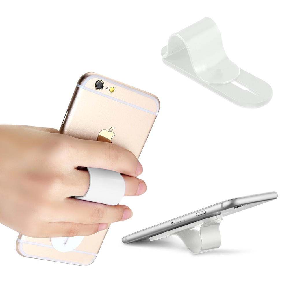 Apple iPhone X -  Stick-on Retractable Finger Phone Grip Holder, White