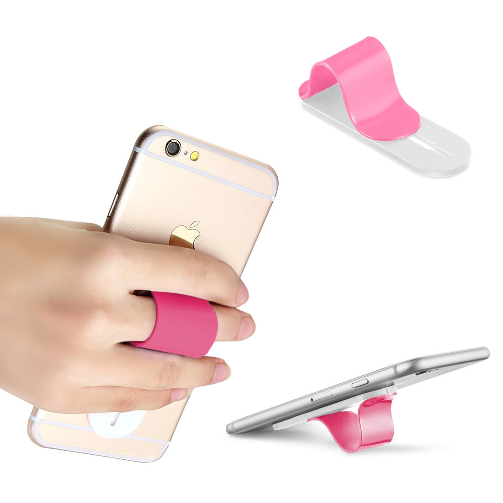 Apple iPhone X -  Stick-on Retractable Finger Phone Grip Holder, Pink