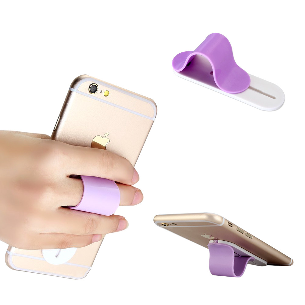 Apple iPhone X -  Stick-on Retractable Finger Phone Grip Holder, Purple