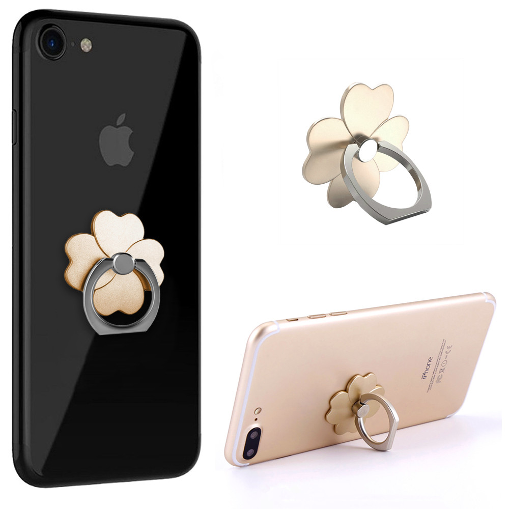 Apple iPhone X -  Universal Metallic Clover Design Ring Grip and Stand Holder, Gold
