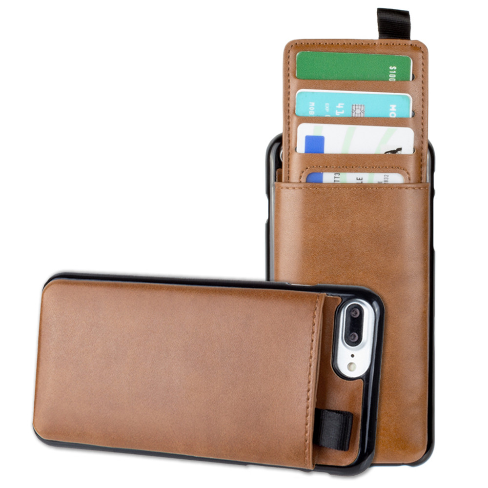 Apple iPhone 6 Plus -  Vegan Leather Case with Pull-Out Card Slot Organizer, Taupe