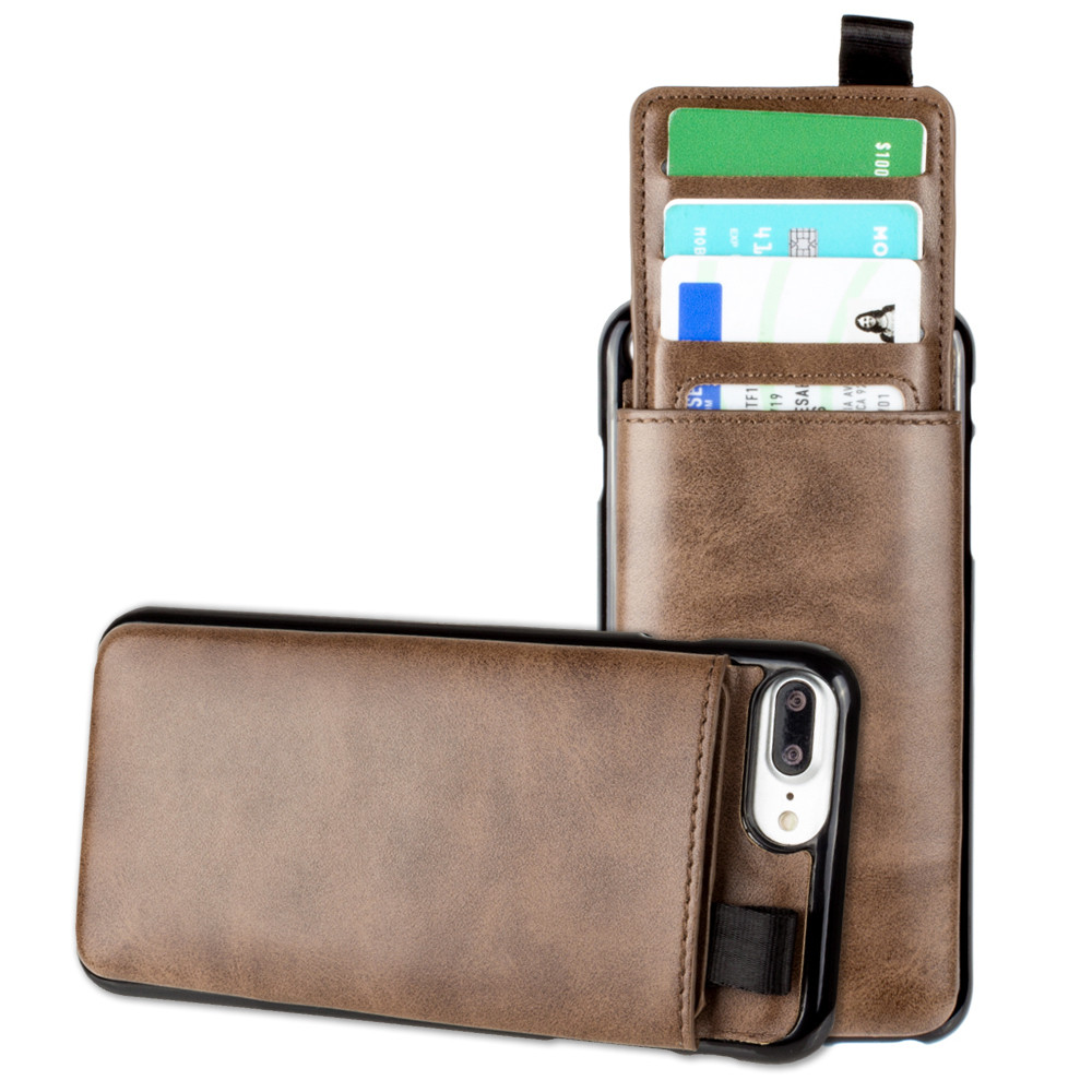 Apple iPhone 6 Plus -  Vegan Leather Case with Pull-Out Card Slot Organizer, Brown