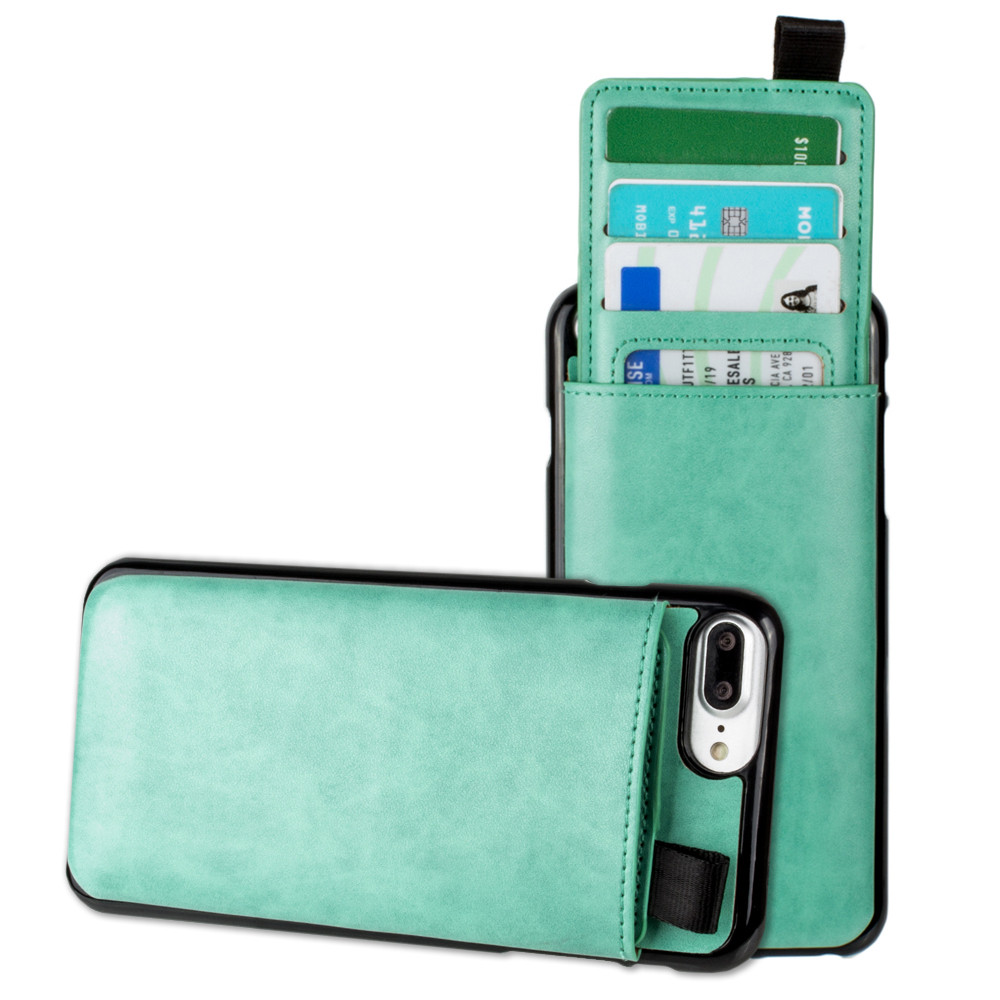 Apple iPhone 6 Plus -  Vegan Leather Case with Pull-Out Card Slot Organizer, Mint