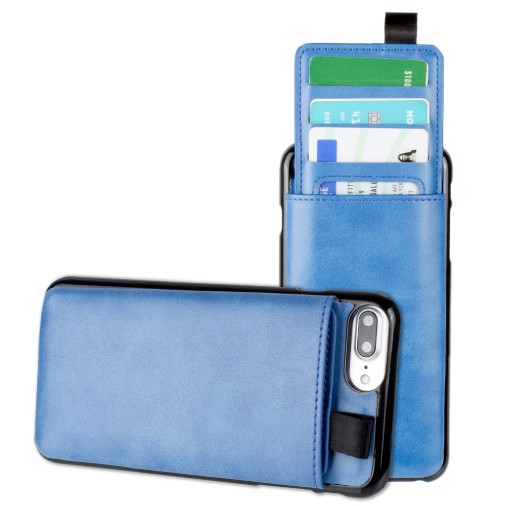 Apple iPhone 6 Plus -  Vegan Leather Case with Pull-Out Card Slot Organizer, Blue