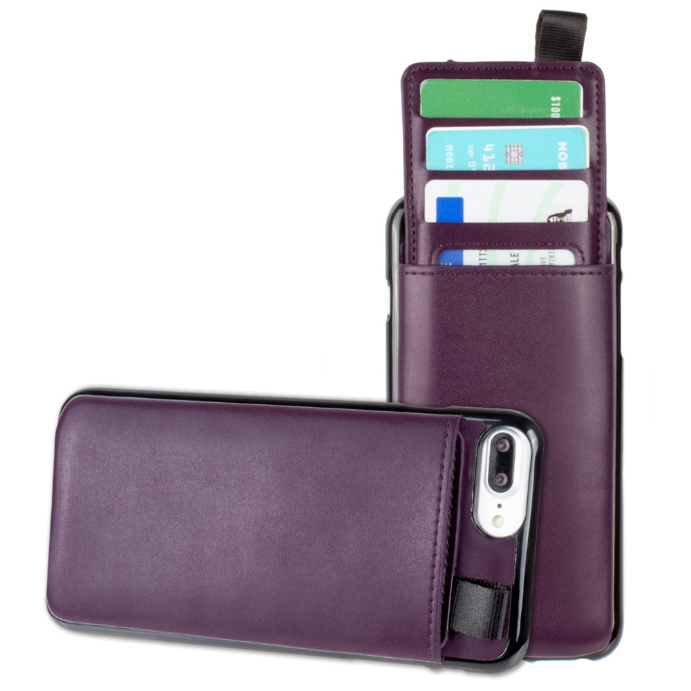 Apple iPhone 6 Plus -  Vegan Leather Case with Pull-Out Card Slot Organizer, Purple