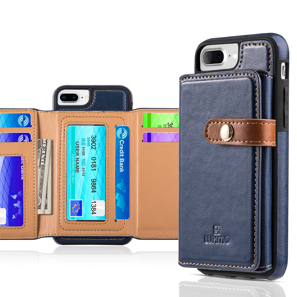 Apple iPhone 6 Plus -  Vegan Leather Case with Stitched-on Tri-fold Wallet, Navy Blue/Brown