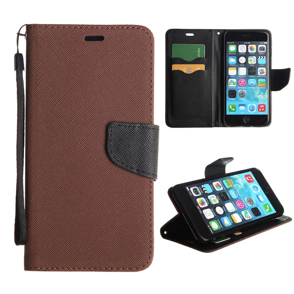 Apple iPhone 6 Plus -  Premium 2 Tone Leather Folding Wallet Case, Brown/Black