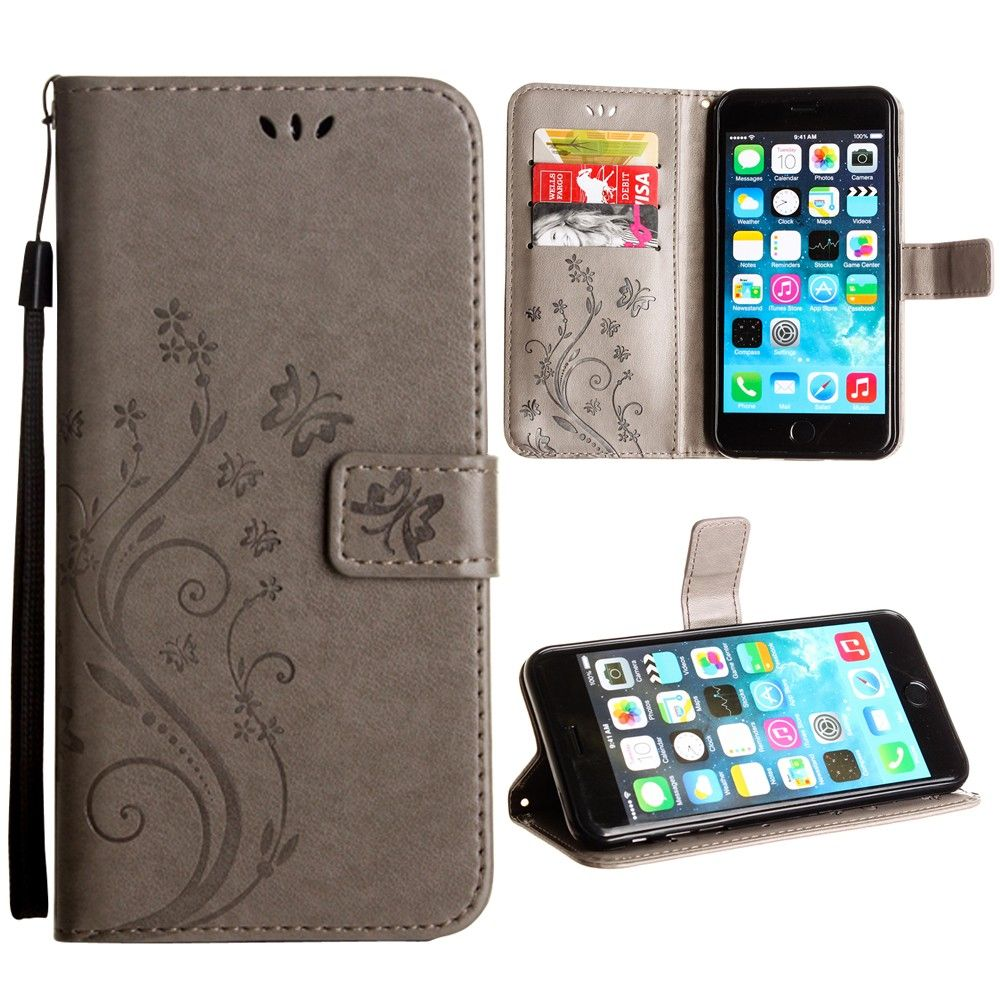 Apple iPhone 6 Plus -  Embossed Butterfly Design Leather Folding Wallet Case with Wristlet, Gray
