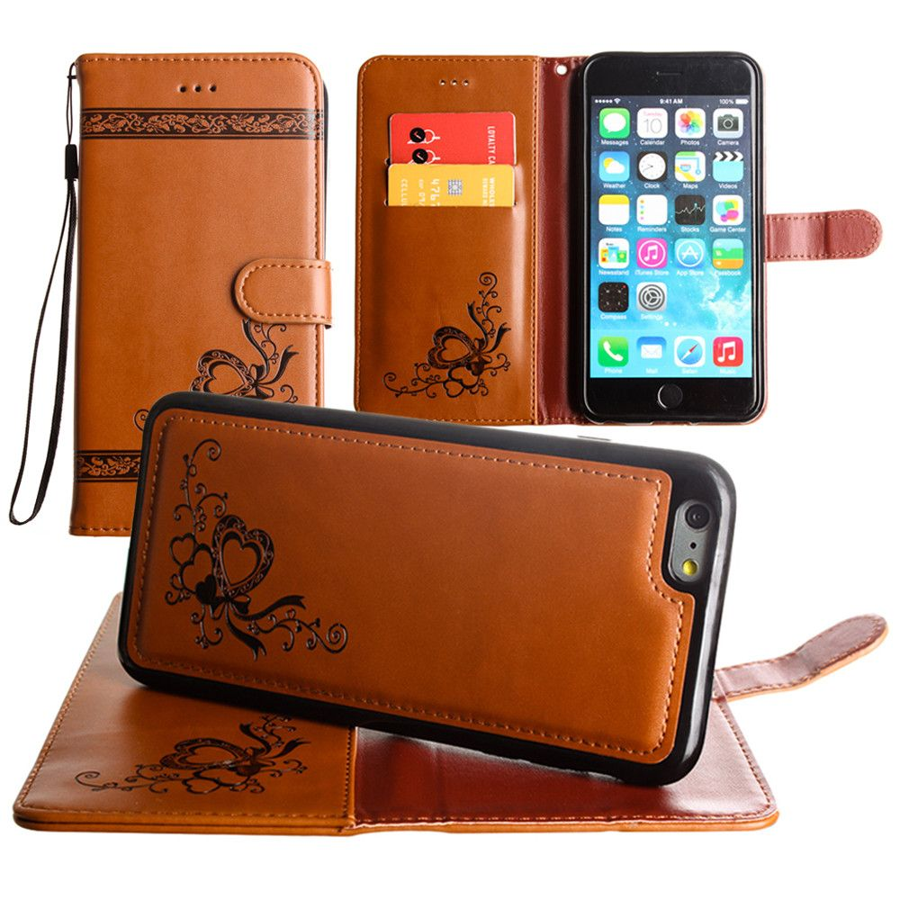 Apple iPhone 6 Plus -  Embossed heart vine design wallet case with detachable matching case, Brown