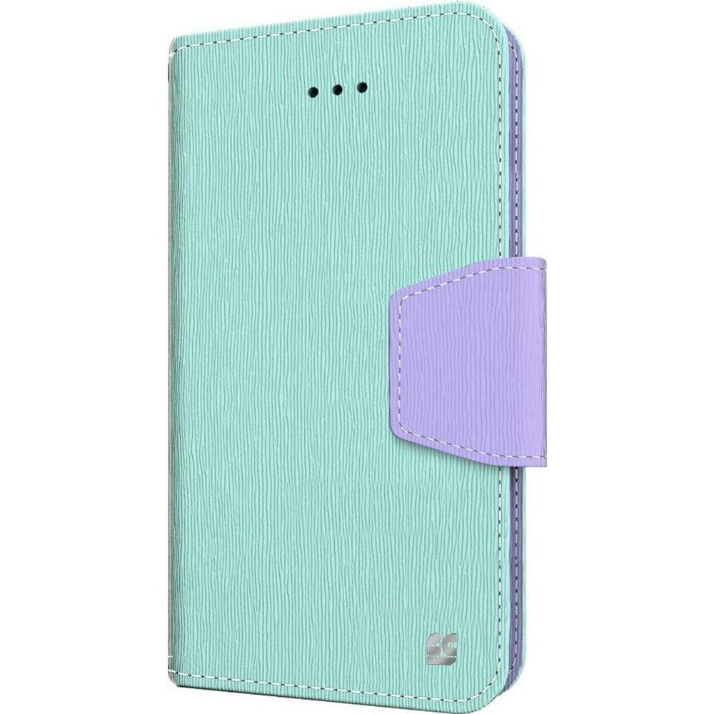 Apple iPhone 6 Plus -  Leather Folding Wallet Case, Mint/Purple