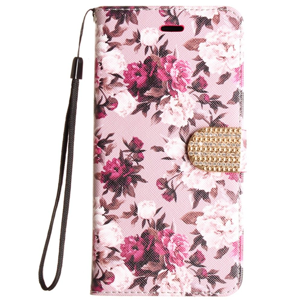 Apple iPhone 6 Plus -  Romantic Rose Shimmering Folding Phone Wallet, Pink/White