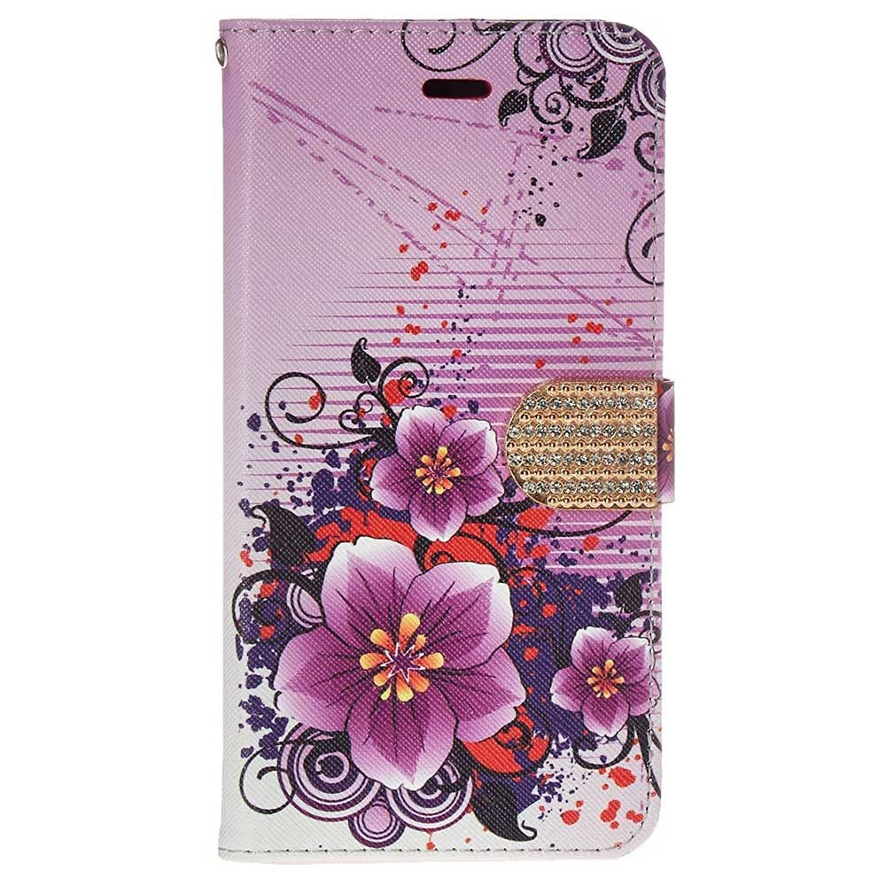Apple iPhone 6 Plus -  Hibiscus Flower Shimmering Folding Phone Wallet, Purple
