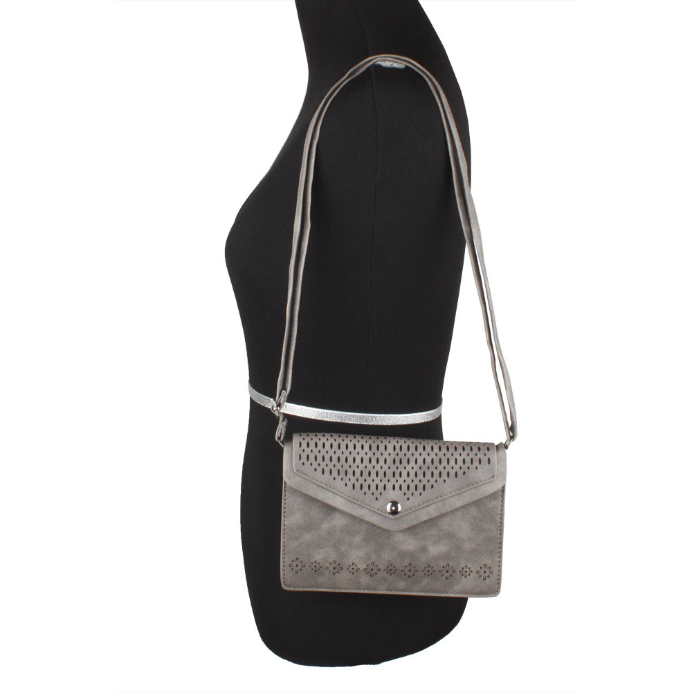 Apple iPhone 6 Plus -  Vegan Suede Laser Cut Envelope Crossbody Bag with Adjustable Strap, Gray