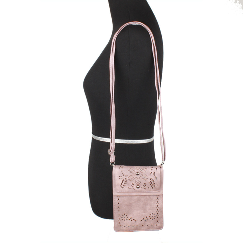 Apple iPhone 6 Plus -  Vegan Suede Laser Cut Foldover Crossbody with Adjustable Strap, Blush