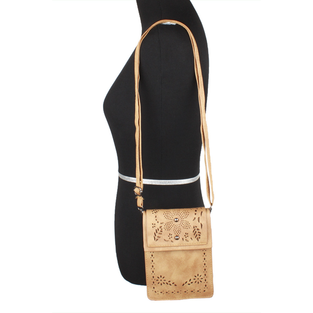Apple iPhone 6 Plus -  Vegan Suede Laser Cut Foldover Crossbody with Adjustable Strap, Camel