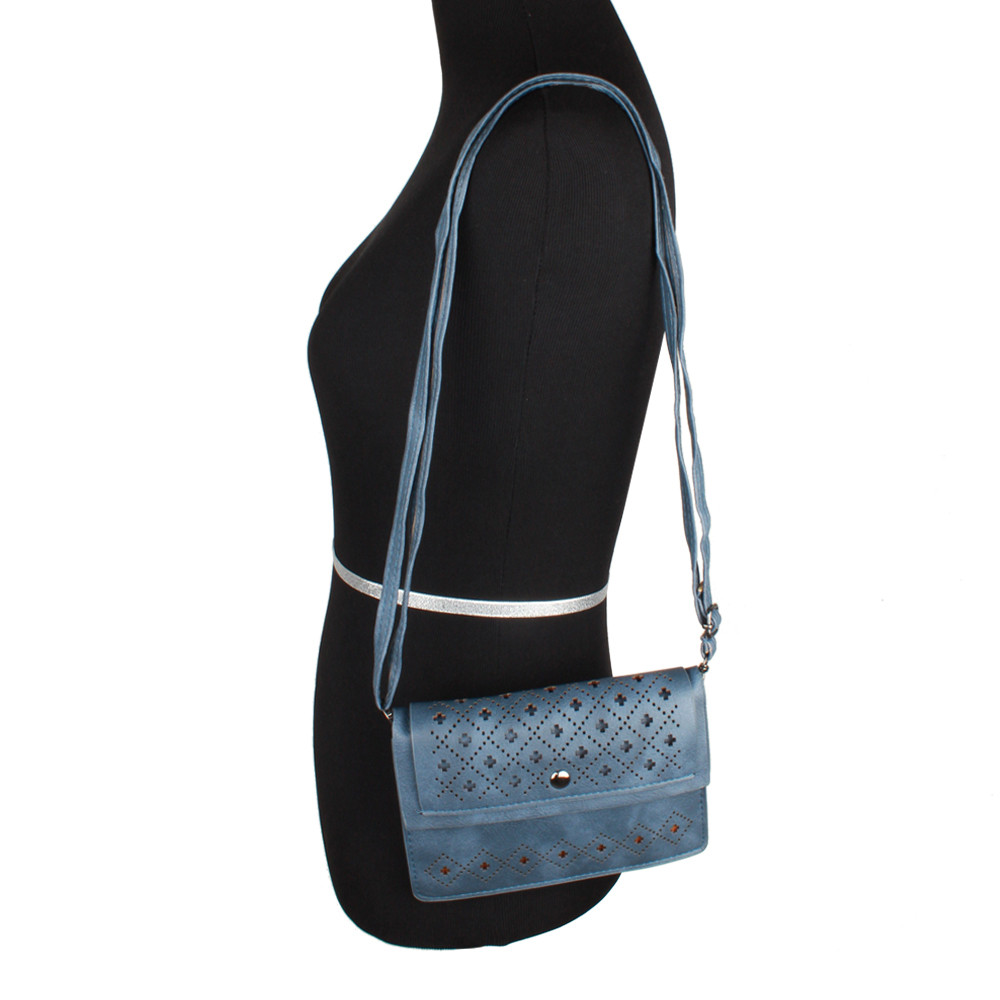 Apple iPhone 6 Plus -  Vegan Suede Diamond Laser Cut Horizontal Crossbody with Adjustable Strap, Navy Blue