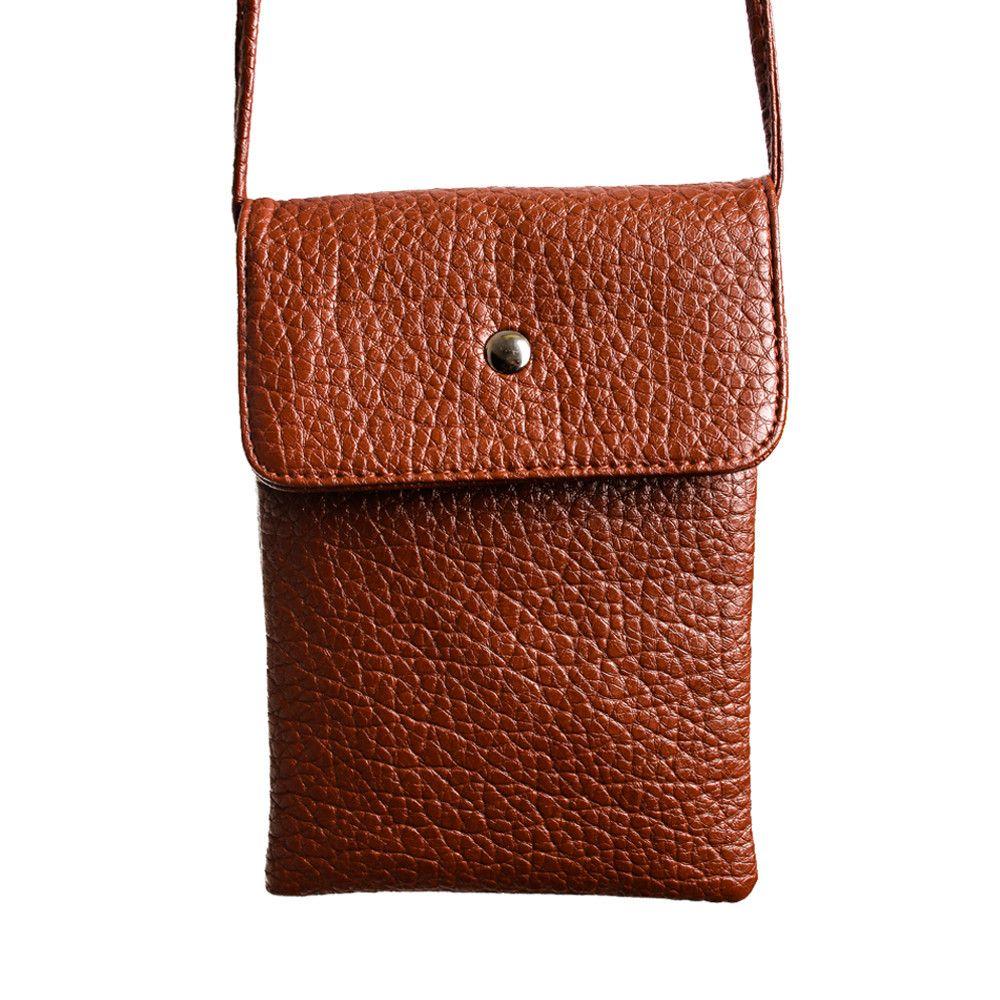 Apple iPhone 6 Plus -  Vegan Leather Compact Crossbody Shoulder Bag, Coffee Brown
