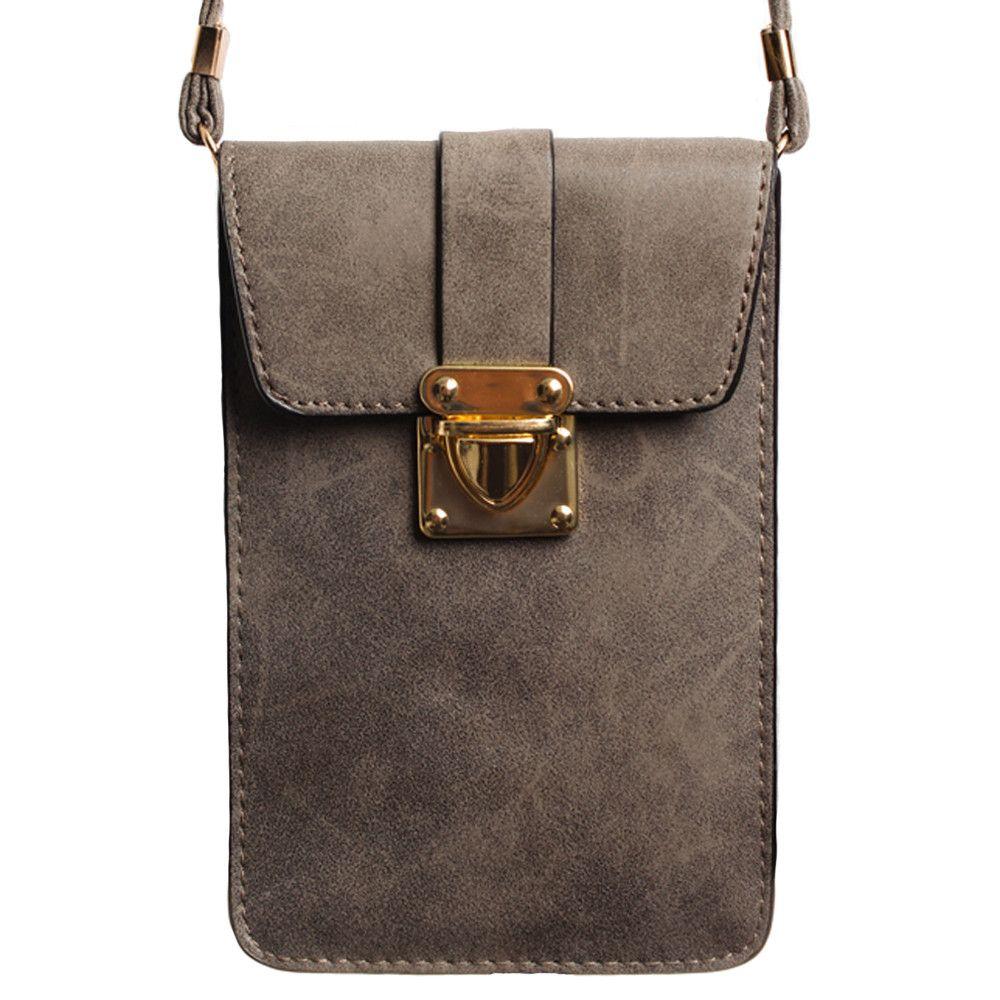Apple iPhone 6 Plus -  Soft Leather Crossbody Shoulder Bag, Gray