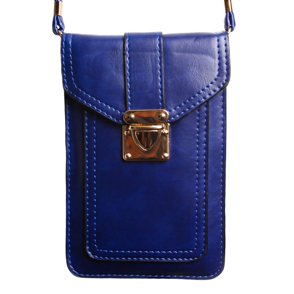 Apple iPhone 6 Plus -  Smooth Vegan Leather Crossbody Shoulder Bag, Dark Blue