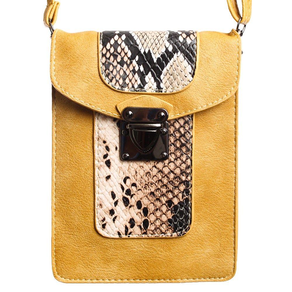 Apple iPhone 6 Plus -  Snake Print Design Crossbody Shoulder Bag, Brown