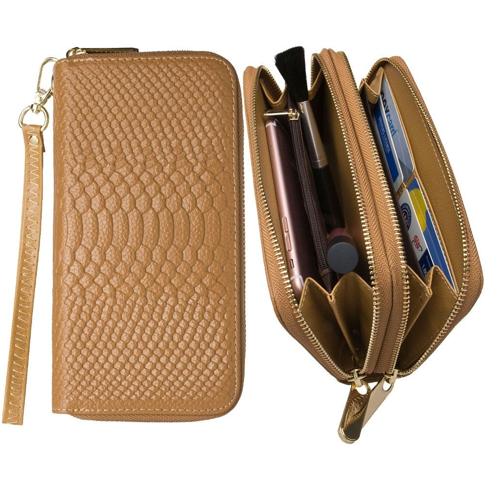Apple iPhone 6 Plus -  Genuine Leather Hand-Crafted Snake-Skin Double Zipper Clutch Wallet, Beige