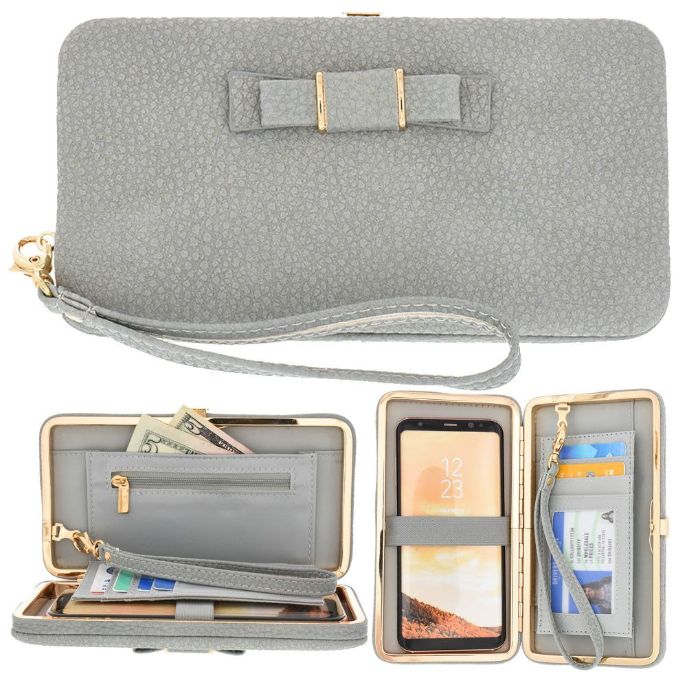 Apple iPhone 6 Plus -  Bow clutch wallet with hideaway wristlet, Gray