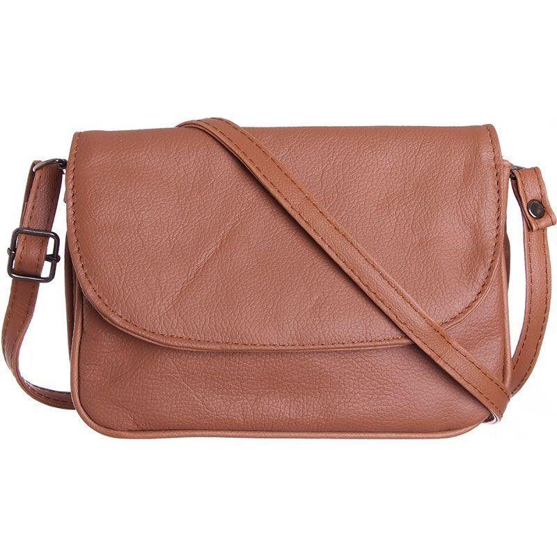Genuine Leather Shoulder / Crossbody Handbag, Brown