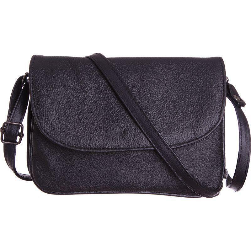 Genuine Leather Shoulder / Crossbody Handbag, Black