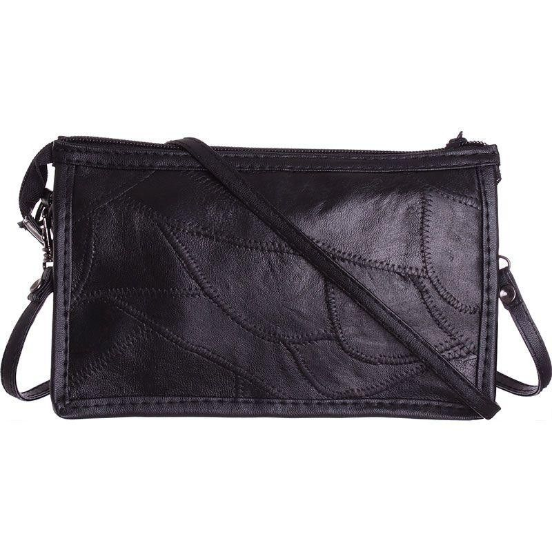 Apple iPhone 6 Plus -  Genuine Leather Stitched Pieces Crossbody, Black