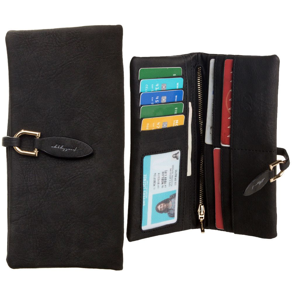 Apple iPhone 6 Plus -  Slim Suede Leather Clutch Wallet, Black