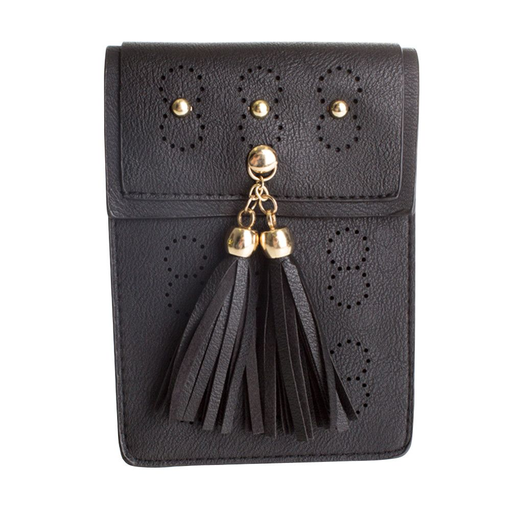 Apple iPhone 6 Plus -  Leather Tassel Crossbody Bag with Detachable Strap, Black