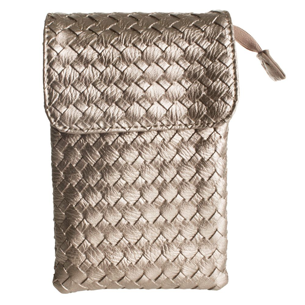 Apple iPhone 6 Plus -  Vegan Leather Woven Crossbody bag, Taupe